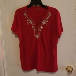 Short Sleeve Red Blouse